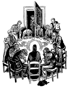 """Christ at Table / Christ of the Soup Kitchen"" by Fritz Eichenberg"